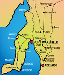 A map of South Australia showing Port Wakefield and Adelaide